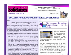 Bulletin juridique Solidaires n° 30